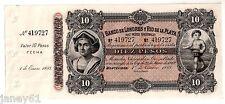 ~ Billete de diez Pesos URUGUAY - 1883 Banco De Londres y Río De La Plata ~