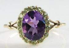 UNUSUAL ENGLISH 9K GOLD LARGE AMETHYST  & PERIDOT CLUSTER RING