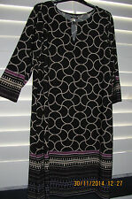NWT Women's Haani Tunic  Dress Black & Tan Print  Plus Size Petite 1X P