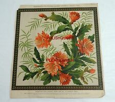 ANTIQUE 1889 NEEDLEWORK WOOL TAPESTRY PATTERN for SOFA CUSHION, CHAIR SEAT