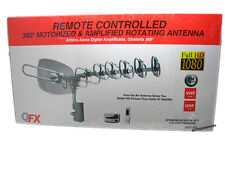QFX Ant-105 HDTV Outdoor Power Amplified Rotor Remote 360° UHF/VHF/FM TV Antenna