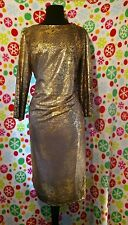Elegance Chill Collection Lularoe Amelia Julia Style Party Dress Gold Foil XL