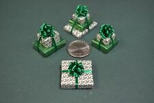 Miniature Christmas Presents, a triple, 2 doubles and a single, Green holly