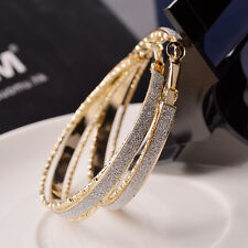Lovely Gift Stunning 14K Yellow Gold filled Diamante Hoop Earrings Women's