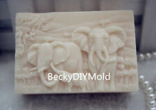 1pcs Elephant Lovers(zx124) Silicone Handmade Soap Molds Crafts DIY Moulds