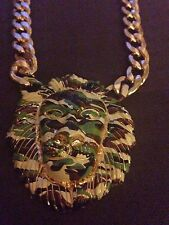 Statement Celebrity Gold Camo 2.5 inch Lion Head Necklace BRAND NEW