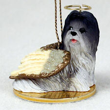 Shih Tzu Dog Figurine Angel Statue Gray/White