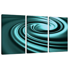 Three Piece Teal Abstract Canvas Wall Art Pictures Set Blue Green 3060