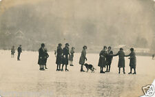 Postcard Windermere lake frozen skaters undivided back A3