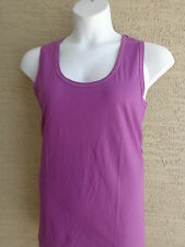 New Ellos Cotton Scoop Neck Tank Top  Purple Floral  M