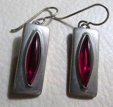 Vintage Jorgen Jensen Signed Pewter Earrings Denmark Modernist Style Red Glass