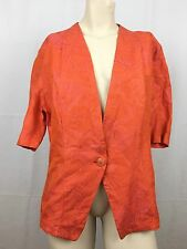 Armani Collezioni Blazer Sz 10 Women Orange Pink Vintage Short Sleeves