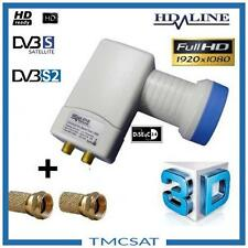 LNB TWIN TETE PARABOLE 2 SORTIES HD-LINE Gain 62 dB Bruit 0.1dB Vers 2 Demos
