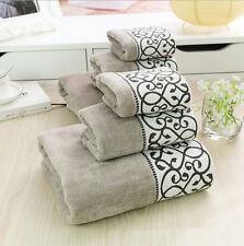 3 Pcs Bath Towels Set Egyptian Cotton Premium Quality Gray Colours