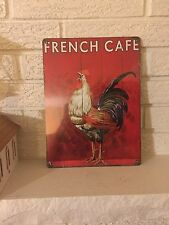 "New Aluminum 12 x 9   ""French Cafe""  with Crowing Rooster Sign"