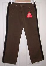 SOUTH Olive Green Cotton Trousers with Black Side Stripe Size: 6 Short BNWT