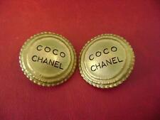 AUTH Chanel vintage CC logo coco chanel large clips earrings