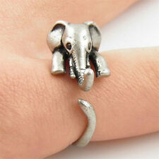 Vintage Animal Elephant Adjustable Wrap Finger Silver Statement Ring Jewelry New
