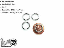 4X Stainless Steel Key Chain Split Ring .542 in / 13.77 mm OSD #9 LOT OF 4 RINGS