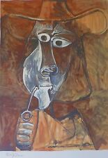 """PABLO PICASSO """"SMOKER"""" signed HAND NUMBERED 1209/2000 LITHOGRAPH gouache"""