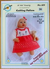 1 DOLLS KNITTING PATTERN by Val Young No.309 for Annabell or17 to 19 inch doll