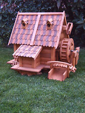 Wassermühle Wassermühlen groß aus Holz Blockhausstil Holzschindeldach für Garten