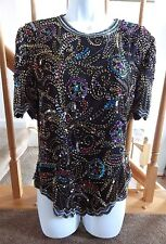 NWT ~ LAURENCE KAZAR VTG Formal Beaded Sequin Top 100% Silk Sz PM Lord & Taylor