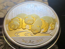 2013 1Oz Ounce Silver Chinese Panda Coin Gold Gilded 999  scarce
