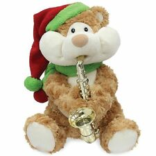 Cuddle Barn Animated Plush Christmas Cheeks Teddy Bear Playing Song Saxophone