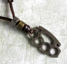 Urban Vintage DIESEL Genuine Leather Necklace with Brass Knuckles Pendant