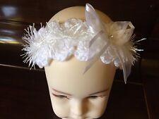 Bébé fille blanc bandeau handmade crochet sparkle ruban nœud strass nouveau-né
