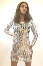 Dress Limited New Ladies Metalic Barbarella Sixties Clubwear Sexy Silver