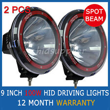 "PAIR 100W 9"" HID XENON Spotlight OFF ROAD Driving lights Lamp 9 INCH 4x4 4WD SUV"