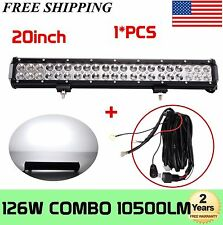 20'' 126W CREE COMBOLED WORK BAR LIGHT OFF-ROAD TRUCK 4WD JEEP BOAT+Wiring kit