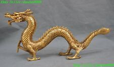 """20""""Chinese Feng Shui brass Horned dragon beast Pi xiu Brave troops lucky statue"""