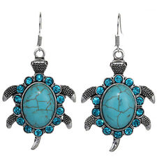 Cute Animal Turtle Tibetan Silver Crystal Oval Turquoise Hoop Earrings Jewelry