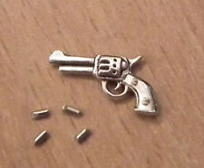 1/12, Dolls House miniature Metal Gun / Pistol & 4 Bullets office study etc LGW