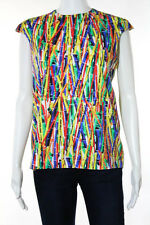 Stella Jean Multi-Color Cotton Abstract Print Sleeveless Top Size IT 40