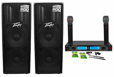 "(2) Peavey PV215D Dual 15"" 800W Powered DJ/PA Speakers + Dual Microphone System"