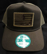 New Era Brown/Tan Mesh Snapback Hat /  Cap With MultiCamo American Flag Patch