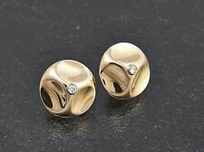 Design insoliti ORECCHINI a bottone tondo con brillanti/oro 750/spina clip