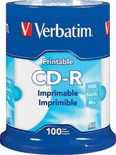 VERBATIM CD-R CDR 52X 700MB White Inkjet Hub Printable 100 pack Spindle 98493