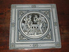 LARGE 8INCH VICTORIAN MINTON MOYR SMITH TILE SHAKESPEARE ROMEO & JULIET ACT 1