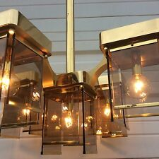 MIDCENTURY ITALIAN MODERN SCIOLARI DESIGN CHANDELIER FIVE LIGHT SMOKED PRISM