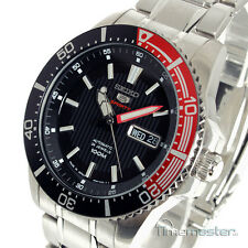 SEIKO 5 SPORTS AUTOMATIC BLACK FACE STAINLESS STEEL DIVERS STYLE SRP557J1