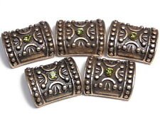 5 - 2 HOLE SLIDER BEADS ORNATE OLIVINE AUSTRIAN CRYSTAL ROSE GOLD TONE DOME