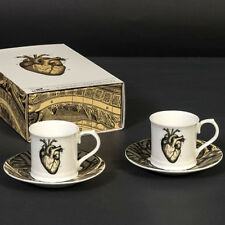 CUBIC CURIOS ANATOMICAL HEART ESPRESSO SET. TWO CUPS & SAUCERS IN GIFT BOX.