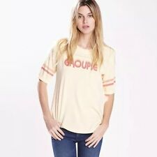 MOTHER DENIM NWT Groupie Yellow Supima Cotton Knit Vintage Band T Shirt Top L
