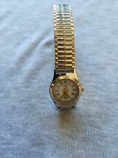 1996 Warner Bros Armitron Tweety Gold & Silver Tone Stretch Band Quartz Watch
