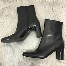 NEW Via Spiga Black Leather Square Toe Zip Up Boots Size 6.5
